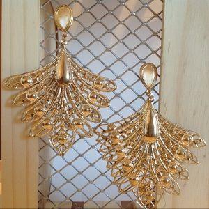 Gold Tone Double Layer Fashion Earrings